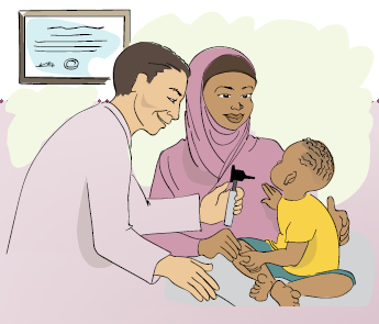 Illustration of a mother with her young child at a doctor's visit.