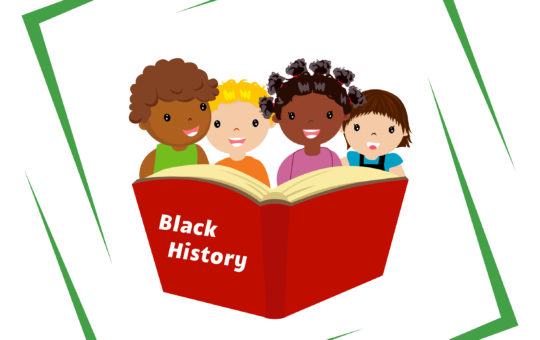 Illustration of four children reading a book on black history