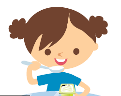 Cartoon girl eating yogurt