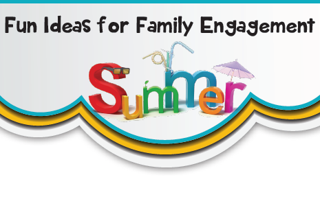 Title of infographic, Fun Ideas for family engagement Summer
